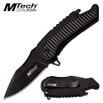 Mtech Spring Assisted Knife Black Handle with Bottle Opener