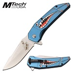 Mtech Spring Assisted Knife Blue Shark Handle Bomber Lady Luck Blade