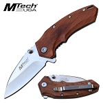 Mtech Pocket Knife Brown Pakkawood Handle Spring Assisted Knife
