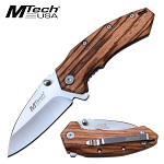 Mtech Pocket Knife Brown Zebra Wood Handle Spring Assisted Knife