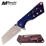 Mtech 6.9 Inch Spring Assisted Knife Purple Stainless Steel Handle