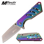 Mtech 6.9 Inch Spring Assisted Knife Rainbow Stainless Steel Handle