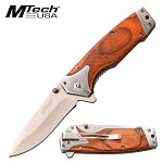 Mtech 7.75 Inch Spring Assisted Knife Brown Pakkawood Handle