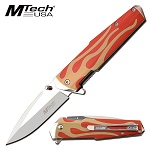 Mtech Red Flaming Handle Pocket Knife Spring Assisted Knife
