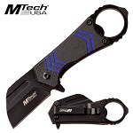Mtech Pocket Knife with Bottle Opener Spring Assisted Knife Black Blue