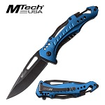 Mtech Pocket Knife Bottle Opener Spring Assisted Knife Blue Handle