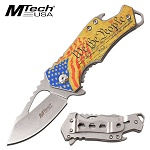 Gold American Flag Pocket Knife Bottle Opener Spring Assisted Knife