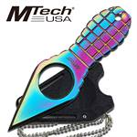 4.25 Inch Overall MTech Grenade handle Neck Knife - Rainbow Finish