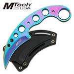 Titanium Coated Full Tang Rainbow Karambit Neck Knife With Sheath