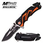 MTech USA Spring Assisted Knife 4.5 Closed  with Black And Orange  Aluminum Handle