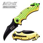 Mtech USA Ballistic Yellow Green Handle Spring Assisted Knife