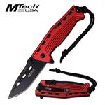MTech USA Spring Assisted Knife Red Anodized Handle Steel