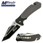 Mtech Pocket Knife Gray Tactical Handle Spring Assisted Knife