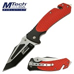 Mtech Pocket Knife Red Tactical Handle Spring Assisted Knife