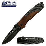 Mtech Stonewash Pocket Knife Pakkawood Handle Spring Assisted Knife