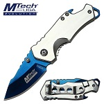 Mtech Pocket Knife Blue Blade Bottle Opener Spring Assisted Knife