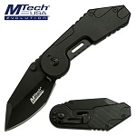 Mtech Pocket Knife Black Aluminum Handle Spring Assisted Knife