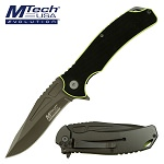 Mtech Pocket Knife Black Yellow Handle  Spring Assis Folder in Clamshell