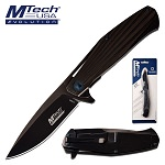 Mtech Manual Folding Pocket Knife Black Stainless Steel Handle in Clamshell