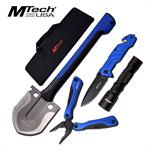 MTech USA Outdoor 4 Item Survival Camping Kit With Tactical Folding Pocket Knife