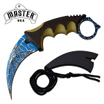 9 Inch Fixed Blade Karambit Knife with Spider Web Blade
