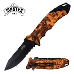 Orange Camo 8.5 Inch Overall Spring Assisted Folding Pocket Knife