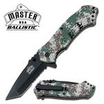 Master Ballistic Spring Assisted Folder Knife - Military Camo Handle
