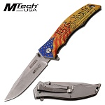 Mtech We The People USA Flag Spring Assist Folding Pocket Knife Yellow