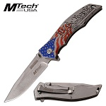 Mtech We The People USA Flag Spring Assist Folding Pocket Knife