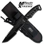 12 Inch MTech Xtreme Full Tang Tactical Knife with Tanto Blade - All Black