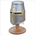 Miniature Brass Crusader Knight Helmet Display Collectible With Stand