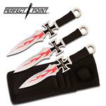 3 Pc Maltese Cross Chopper Perfect Point Throwing Knives with Sheath