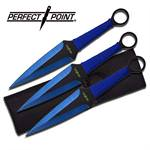 Perfect Point 3 Piece Throwing Knife Set - Blue Grinding Line Blade