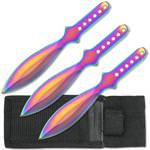 3pc Rainbow Stainless Steel Throwing Knives with Sheath - 6