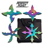 4 Pcs Rainbow Classic Throwing Star Set 2.5 Diameter Anime Knife