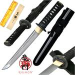 Ryumon Raijin Hand Forged Damascus Carbon Steel Tanto w/ Black Scabbard