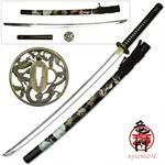 Ryumon Raijin Hand Forged Carbon Steel Katana with Painted Dragon