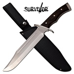 15.5 Inch Fixed Blade Hunting Bowie Knife with Brown Pakka Wood Handle