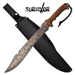 Survivor Machete 25 inch Fixed Blade Knife Brown Handle