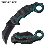Tac Force Karambit Spring Assist Knife Black Green Handle