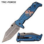Punisher Pocket Knife Blue Aluminum Handle Spring Assisted Knife