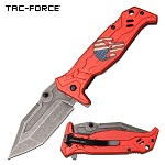 Punisher Pocket Knife Red Aluminum Handle Spring Assisted Knife