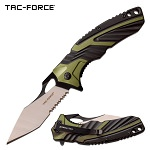 Tac Force Pocket Knife 8.5 Inch Spring Assisted Knife Green Black Handle