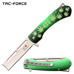 Marijuana Design Straight Razor Spring Assisted Knife