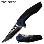Folding Pocket Knife with Persian Edge Blade Black Blue Handle
