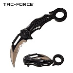 Karambit Style Ring Handle Spring Assist Pocket Knife Grey and Black
