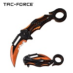 Karambit Style Ring Handle Spring Assist Pocket Knife Orange and Black