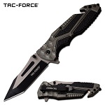 Tactical Pocket Knife Spring Assisted Knife Black Gray Handle