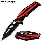 Spring Assisted Knife EDC Pocket Knife Black Red Aluminum Handle