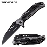 EDC Pocket Knife Spring Assisted Opening Knife Black Gray Handle
